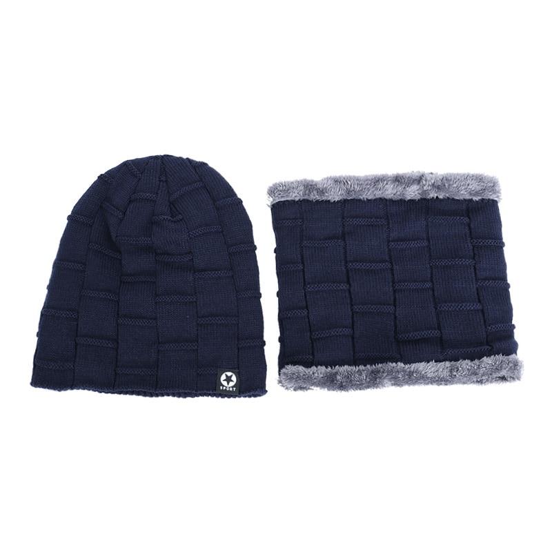 Зимняя мужская шапка с пятизвездочными звездами, шарф плюс бархатная мужская вязаная шапка, Теплая Лыжная маска, маска, головной платок, шапка, высококачественный хлопковый нагрудник, модная новинка