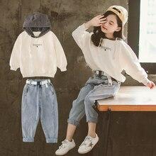 Wiosna 2020 dzieci dziewczyny ubrania zestaw bluza z kapturem i luźne jeansy spodnie 10 12 Y 2 sztuk garnitury nastoletnie dresy odzież