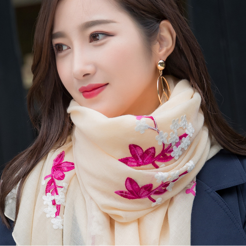 Autumn And Winter New Style Korean-style Embroidered Cotton Scarf Women's Warm Travel Shawl Winter Embroidery Versatile Scarf Wo