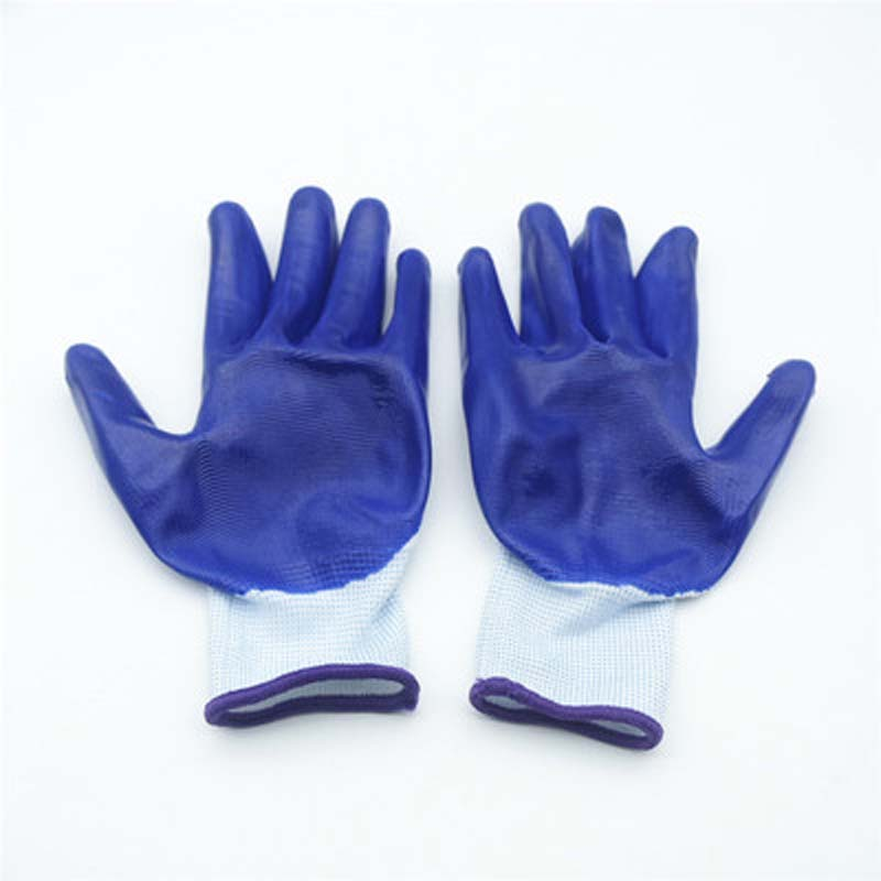 White Yarn Blue Dipped Gloves Hanging Rubber Non-slip Wear-resistant Work Protective Gloves