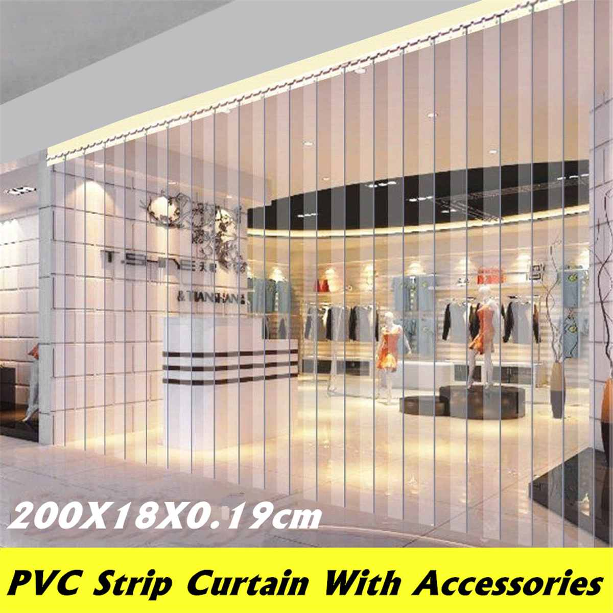 Curtain-Kit Strip Hanging-Rail Door Windproof Freezer PVC 200--18--0.19cm Warehouse Refrigeratory title=