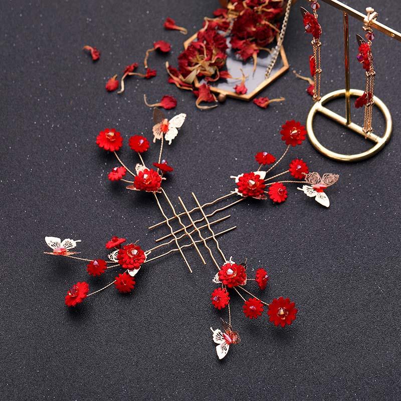 ACRDDK Jewelry-Set Hairpins-Clip Hairband Earring Hair-Accessories Flowers Dubai Wedding