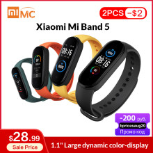 "Asli Xiaomi Mi Band 5 Smart Gelang 1.1 ""AMOLED Layar Berwarna-warni Denyut Jantung Pelacak Kebugaran Bluetooth 5.0 Tahan Air Miband5(China)"
