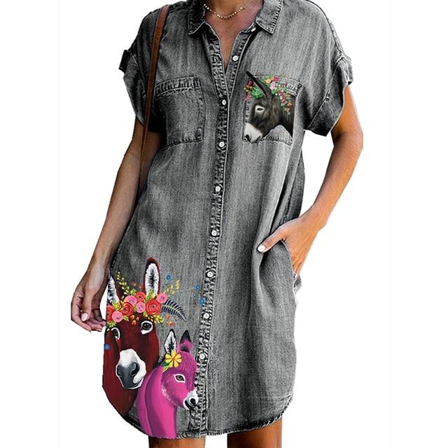 Women Denim Dress Plus Size Horse Donkey Print Women Dress with Pockets Button Turn Down Collor Summer Dress Loose Women Clothes