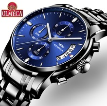 цена на Men Watches Top Brand Luxury OLMECA Brand Watch Military Relogio Masculino Chronograph Wrist Watch Female Clock Stainless Steel