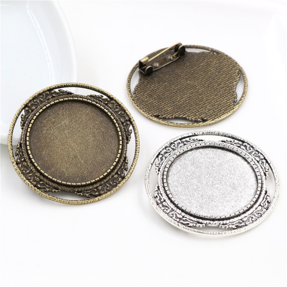 2pcs 30mm Inner Size Antique Silver Plated And Bronze Brooch Pin Classic Style Cabochon Base Setting