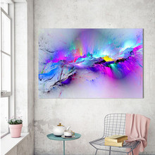 цена на Colorful Abstract Wall Art Canvas Print Modern Printed Canvas Paintings Purple Cloud for Office Room Home Wall Decor No Frame