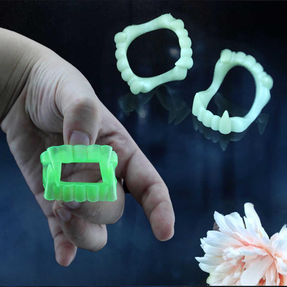 1 PC Vampir Bercahaya Gigi Palsu untuk Orang Menyala Dalam Gelap Gag Teroris Mainan untuk Dekorasi Halloween Pesta Lucu spoof