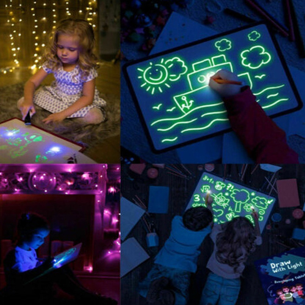 Kids Magic Fluorescent Freezing Light Drawing Painting Board 3D LED Luminous Doodle Graffiti Sketchpad Highlighter Template Toy