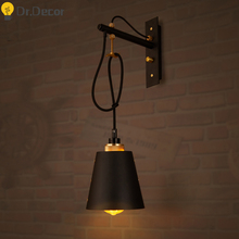 Vintage Kitchen Lamp LED Warm Light Black Iron Wall Lamps Industrial Decor Wall Lamp Bedside Bar Restaurant Cafe Loft Wall Light цена 2017