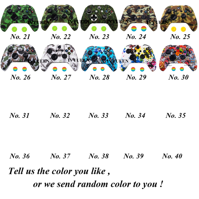 IVYUEEN Silicone Protective Skin Case for XBox One X S Controller Protector Water Transfer Printing Camouflage Cover Grips Caps 2
