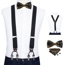 Эластичный для взрослых лямки галстук Шуры запонки комплект формы y-клип на мужской подтяжки 6 клип брюки подтяжки DiBanGu