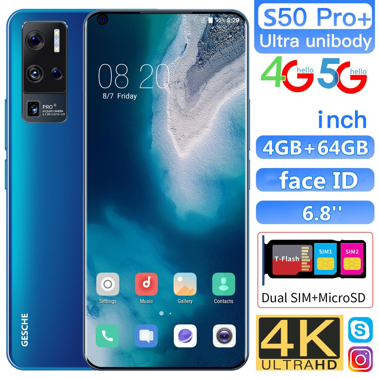 GESCHE S50 Rro + Smartphone 4G + 64GB çift SIM çift bekleme desteği 4G 5G ağ orijinal telefon akıllı yüz tanıma