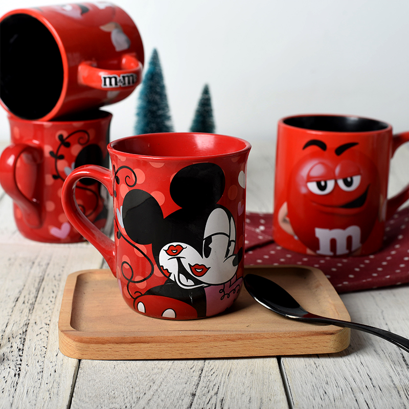 300mL Disney Minnie Mickey MC Queen Cartoon Water Cup Milk Coffee Mug Home Office Collection Cups Girl Women Festival Gifts