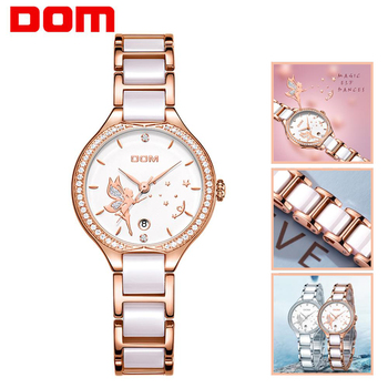 2020 DOM Women Watches Fashion Ceramics Watchband Diamond Wrist Watch Top Luxury Brand Dress Ladies Geneva Quartz Clock