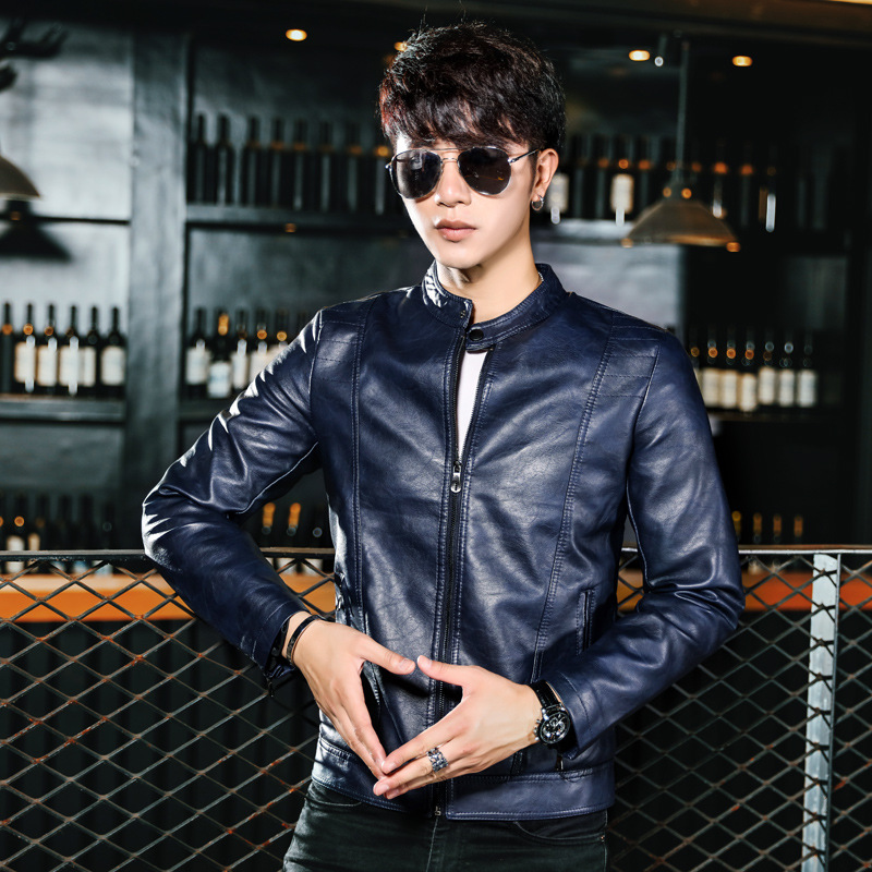 2017 New Style MEN'S Leather Coat Autumn And Winter PU Leather Jacket Locomotive Slim Fit Plus Velvet Youth Casual MEN'S Coat Fa
