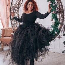 100cm אורך חתונה DIY חצאית טול Overskirt סקסי קפלים אופנה בעבודת יד אישה טוטו נשי ארוך חצאית לוליטה Saia Longa