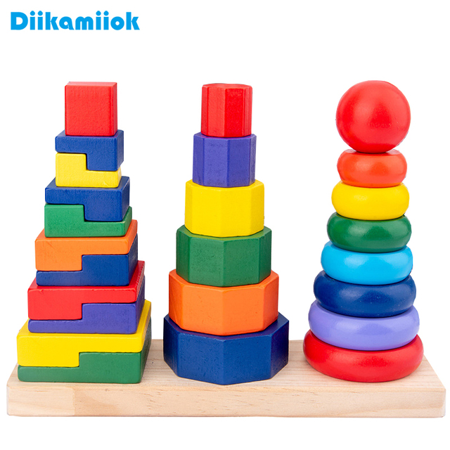 New Wooden Building Block Towers Toys for Children Geometric Shape and Color Matching Game Baby Montessori Early Educational Toy