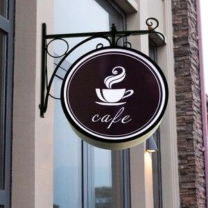 Image 1 - HDJSIGN D35cm 50cm 60cm 12V özel restoran reklam Led kurulu akrilik Uv baskı Led Metal ışık kutusu için dükkanı kahve mağazası
