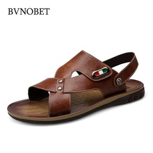 BVNOBET Mens Italian Leather Sandals Quality Men Summer Vintage Style Casual Shoes Beach Erkek Ayakkabi