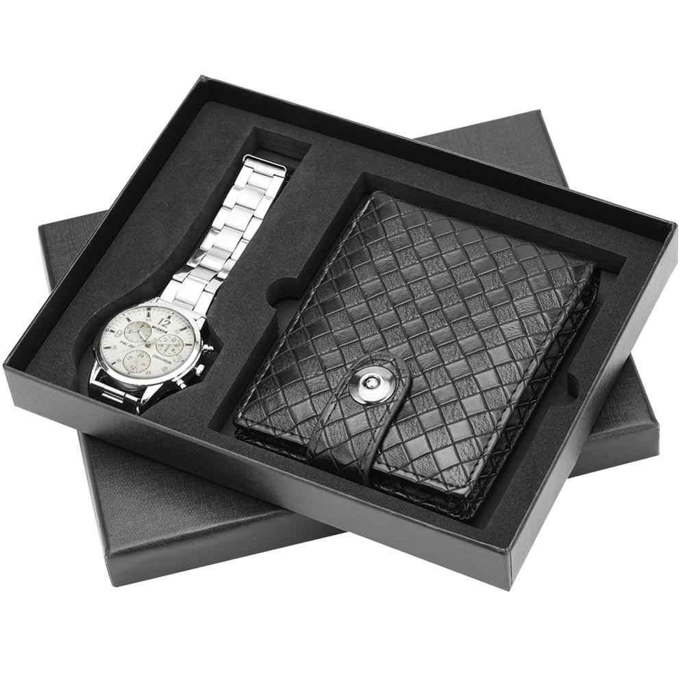 นาฬิกากระเป๋าสตางค์สำหรับชายนาฬิกาควอตซ์สแตนเลสสตีลนาฬิกาข้อมือหนังกระเป๋าสตางค์ของขวัญสำหรับสามี