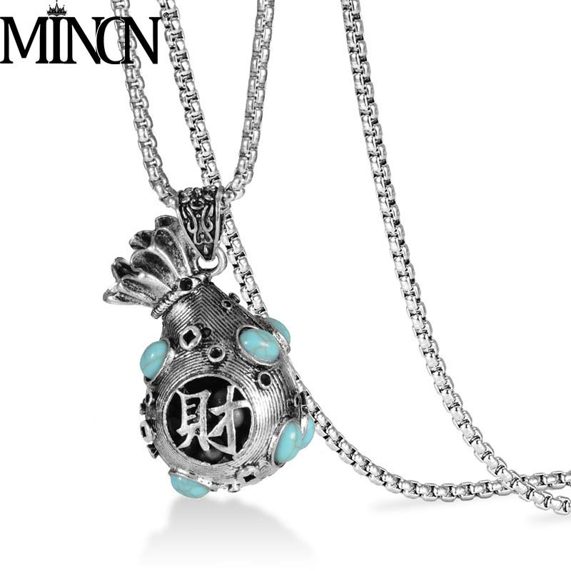 MINCN Titanium Steel Money Bag Necklace Stainless Mens Hip Hop Alloy Wallet Lucky Pendant