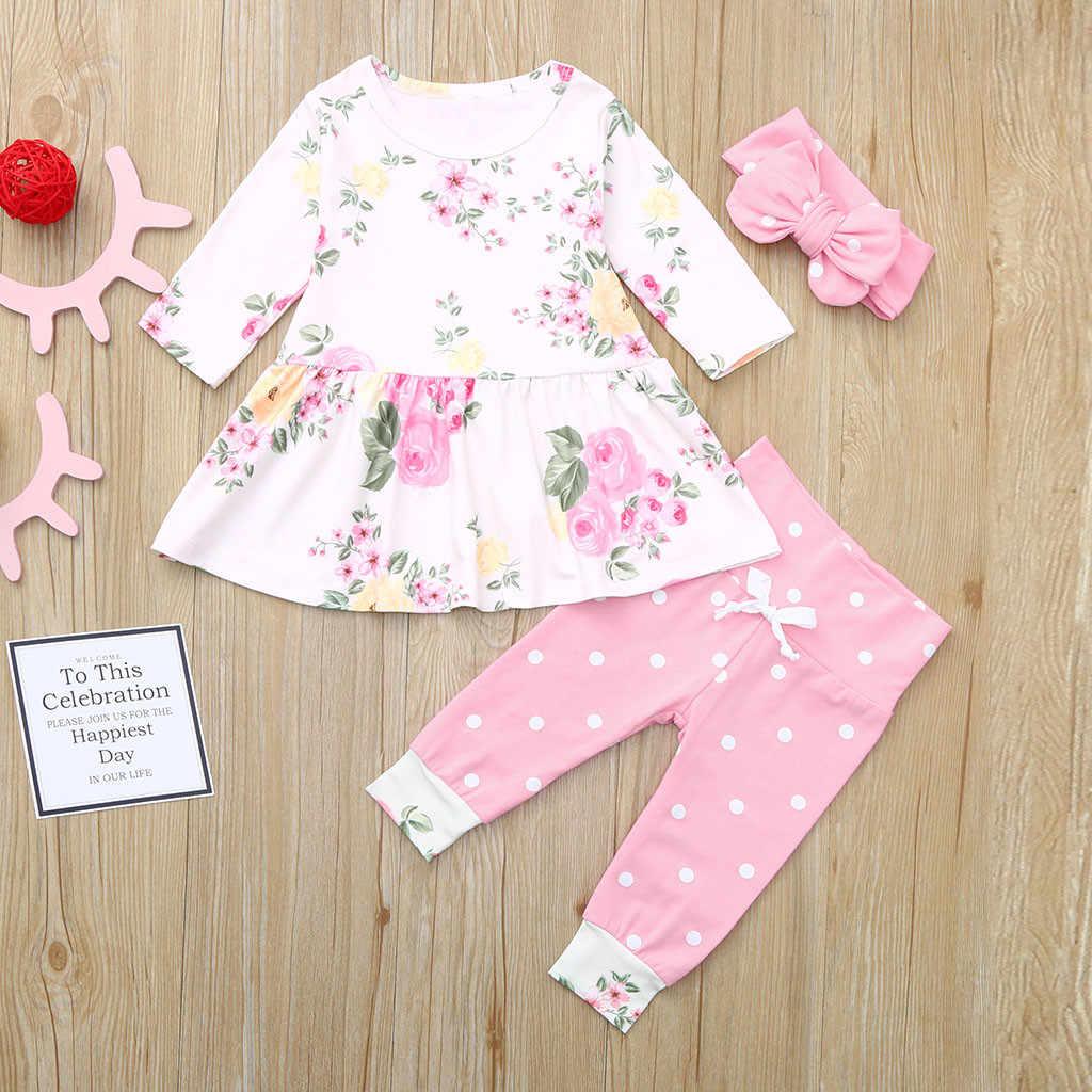 Newborn Baby Toddler Kids Girls Long Sleeve Dress Leggings Outfit Set Clothes US