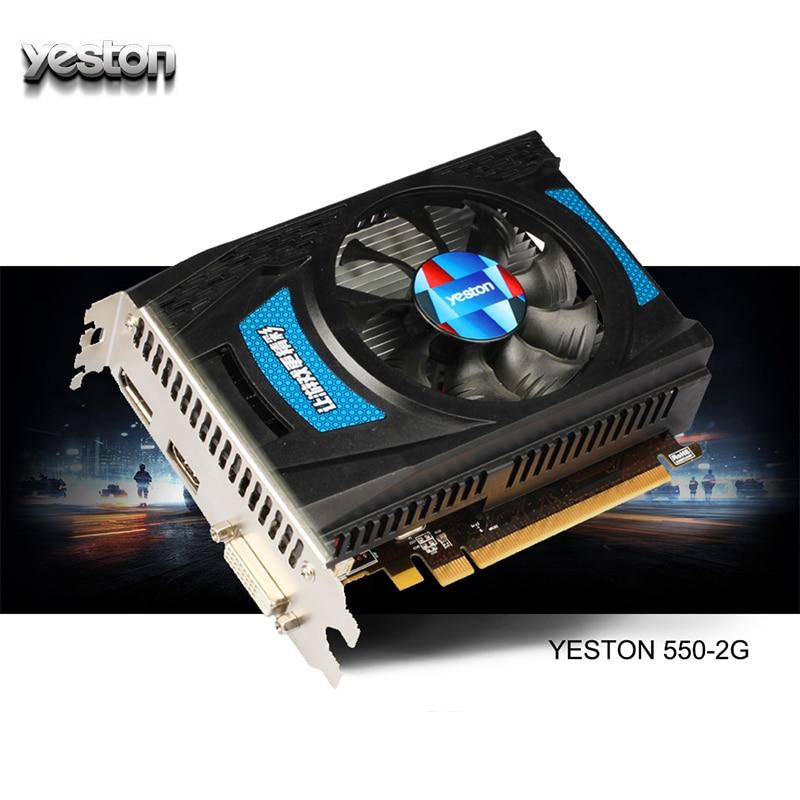 Видеокарта Yeston Radeon RX 550 GPU 2 ГБ GDDR5 128 бит, игровой настольный компьютер, видеокарты для ПК, поддержка PCI-E 3,0 с поддержкой HDMI и PCI-E
