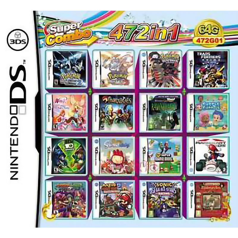 472 в 1 классические Super Mario Bros Sonic зубная щётка Покемон подборка видео игровая карта-картридж консоли мульти телега DS DSI 3DS XL детские игрушки