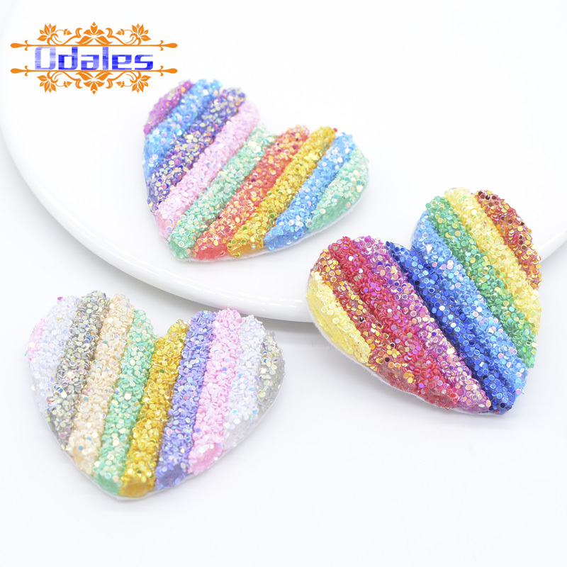 6Pcs 55mm Coloful Sequins Rainbow Love Heart Patches Barrette Headwear DIY Crafts Supply Kids Hairclip Hat Shoes Accessory