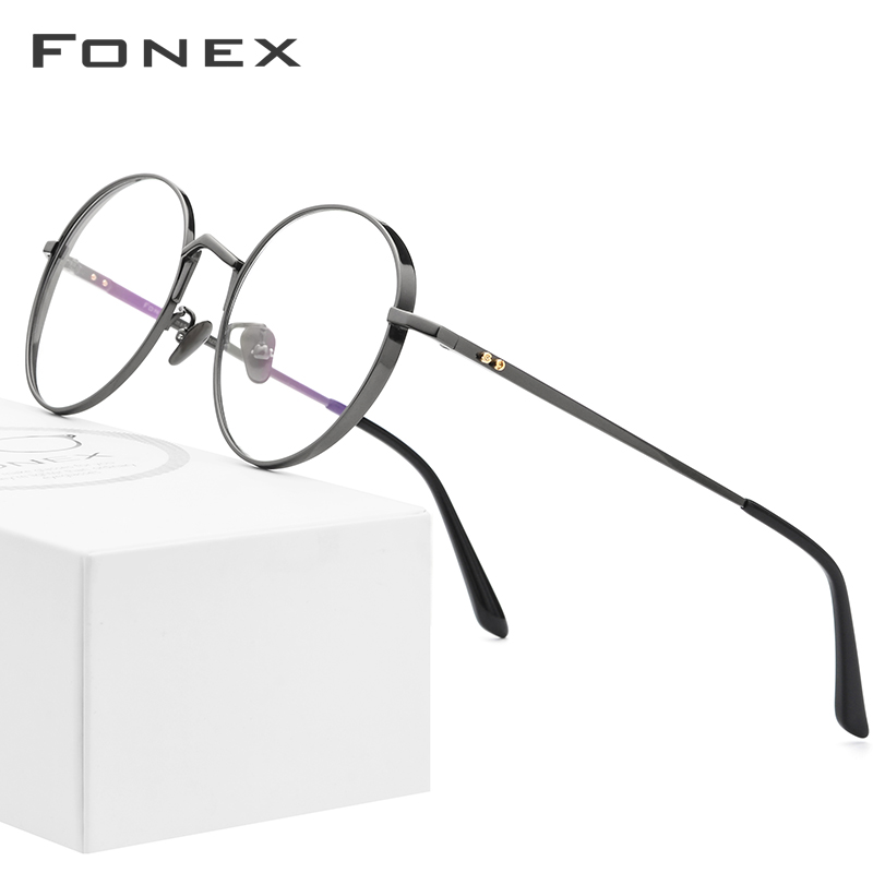 Pure Titanium Glasses Frame Men Ultralight Retro Round Myopia Optical Prescription Eyeglasses Frames Women Vintage Eyewear 884