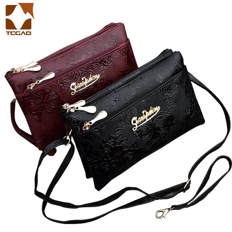 Phone Wallet Clutch-Bag Wristlet Leather Purse Portfel Retro Four-Zipper Kadn Femme Long