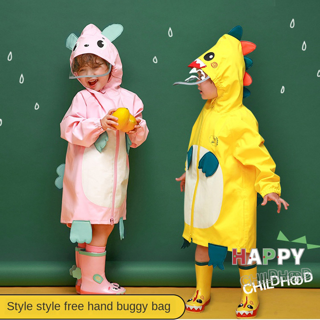Cartoon Cloak Yellow Raincoat Kids Kindergarten Animal Cute Long Rain Coat Child Rain Pants Waterproof Rain Poncho Suit Gift
