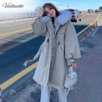 Vielleicht 2020 New Womens Winter Jacket Long Parkas Women Coat Down Cotton Liner Clothing