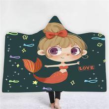 Мультяшное одеяло с капюшоном 3d принт Русалочка для спальни