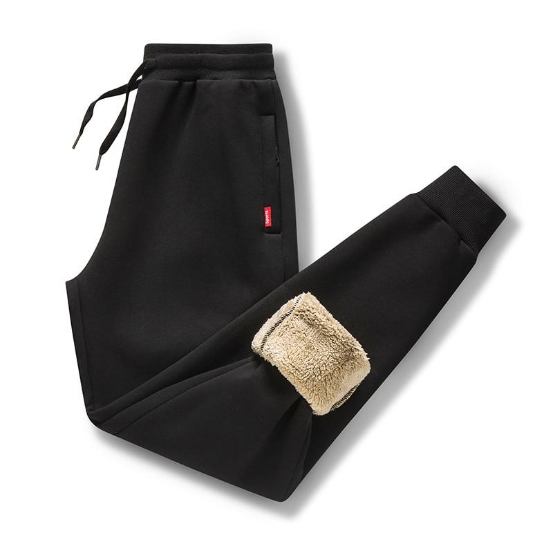 2019 Thick Fleece Jogger Mens Pants Cotton Trousers Male Winter Warm Velvet Sweatpants Tracksuit Joggers Autumn Winter M-4XL