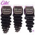 Celie свободная глубокая волна 5x5 кружевная застежка высокое соотношение бразильские человеческие волосы застежка свободная средняя часть 6x6...