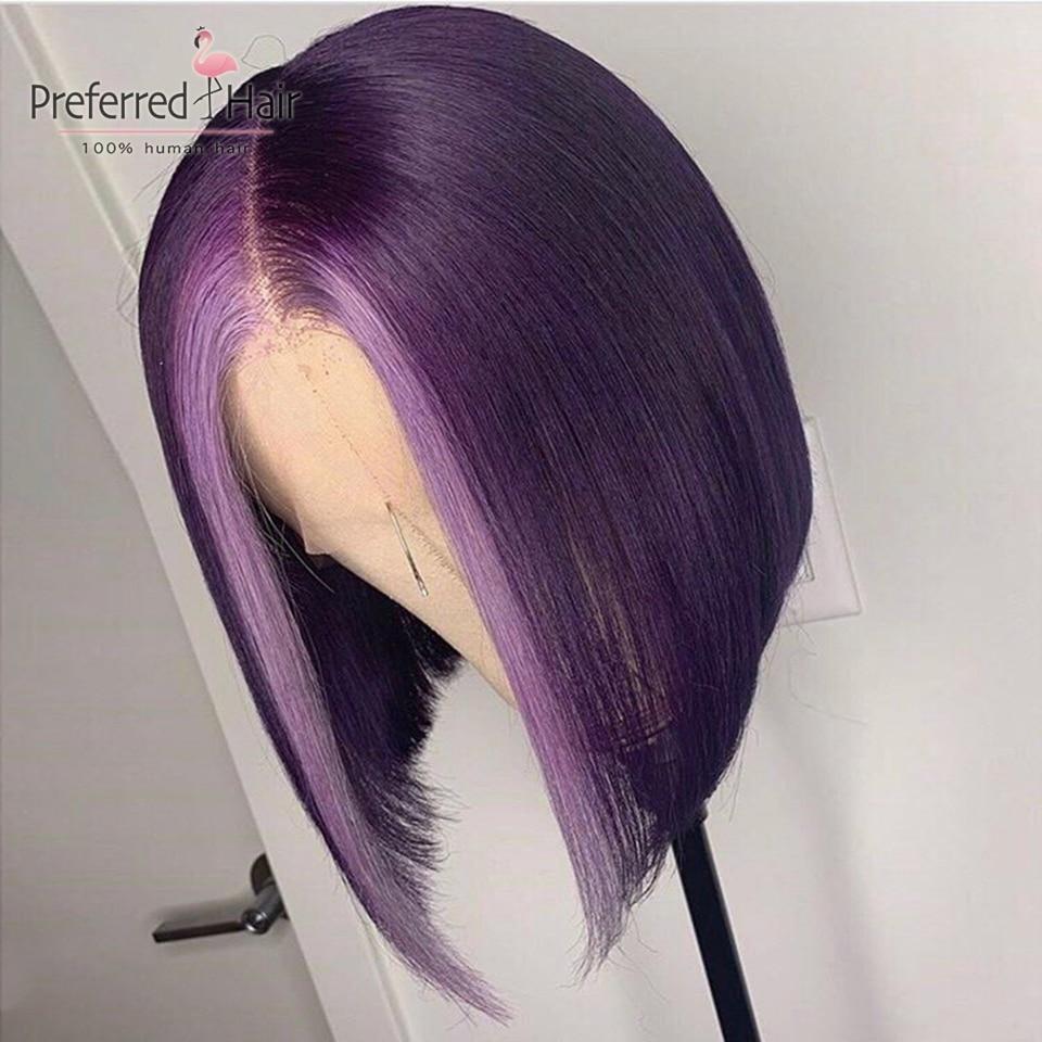 Preferred Light Blue Pink Wig Brazilian Remy Purple Highlight Lace Front Wig Preplucked Short Human Hair Bob Wigs For Women Pakistan