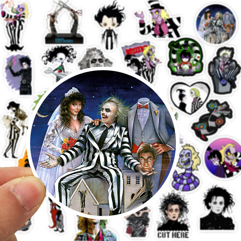 50PCS Tim Burton Movie Stickers Beetlejuice&Corpse Bride Stickers For Kids Luggage Skateboard Laptop Children Toy