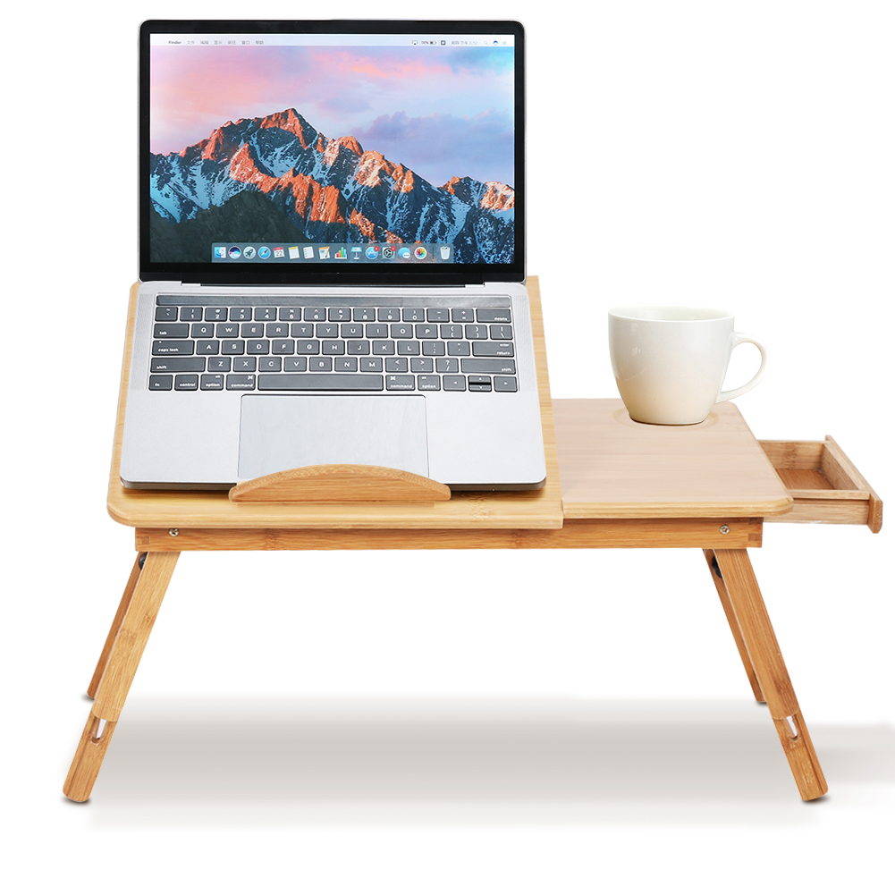 Adjustable Laptop Bed Table Bamboo Rack Shelf Dormitory Bed Lap Desk Two Flowers Book Reading Tray Stand