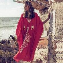 Plus Size Red Cotton Beach Dress Embroidery Robe De Plage Bikini Cover Up Beachwear Pareos Playa Mujer Tunic Ups