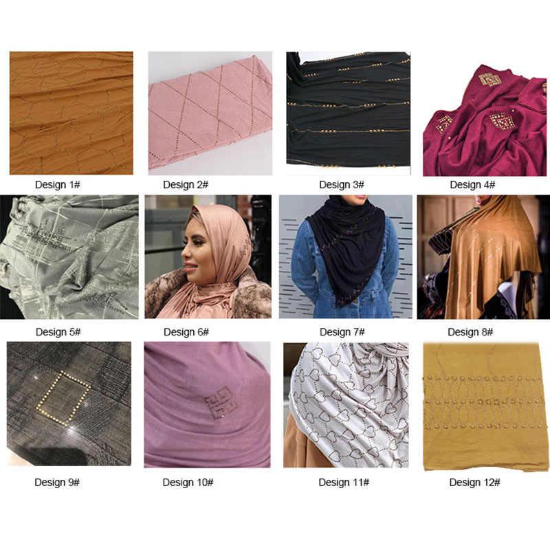 SMG Campuran Desain dan Warna 2020 Terbaru Elastis Diamond Jilbab Jersey Syal dengan Batu Wanita Belanda Muslim Syal