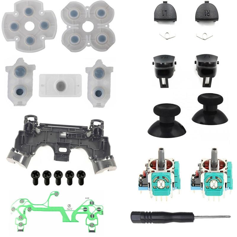 PS4 Pro JDM 040 Controller Repair Kit R1L1R2L2 Trigger Buttons 3D Analog Joysticks Thumb Sticks Cap Conductive Rubber Film Screw