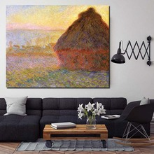 Claude Monet Haystack At Sunset Canvas Painting Prints Living Room Home Decoration Modern Wall Art Oil Painting Posters Pictures claude monet in the flower hd canvas painting print living room home decoration modern wall art oil painting posters picture art