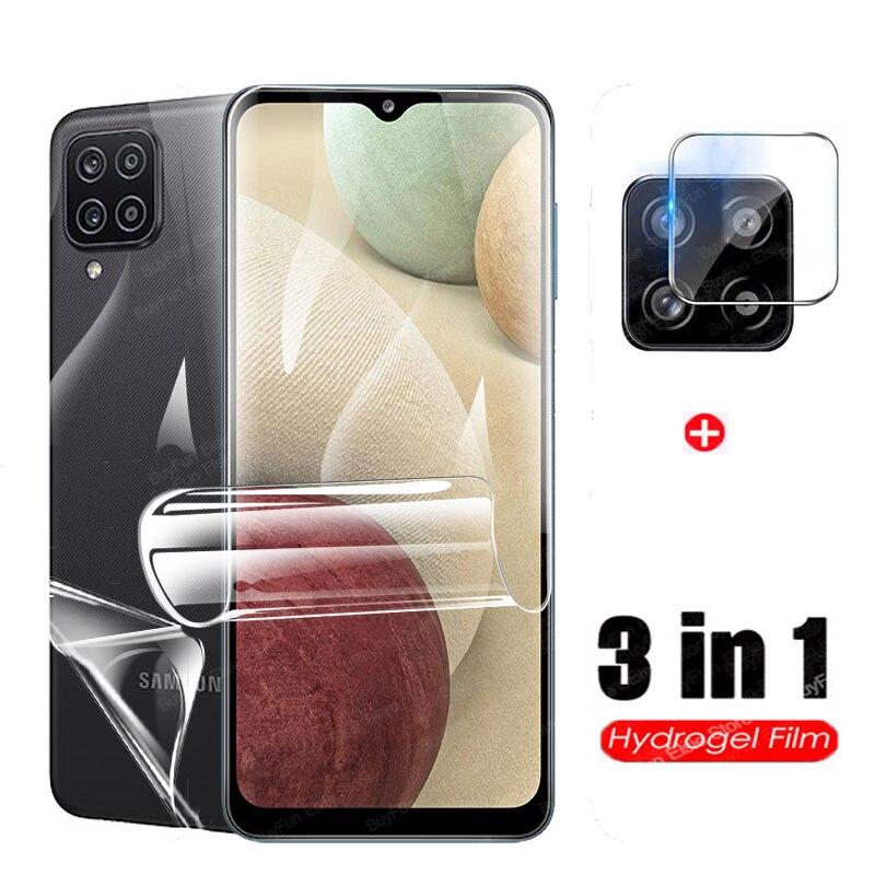 Гидрогелевая пленка 3 в 1 для Samsung Galaxy A12, защита для экрана Samsun A12, A 12, защитная пленка для объектива камеры 6,5 дюйма, не стекло