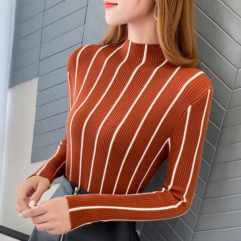 2019 Stripe Western Style Half High Lead Sweater Ma'am Within Build Long Sleeve Self-cultivation Knitting Rendering  turtleneck
