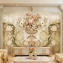 Personalizado estilo europeu de luxo flores foto auto adesivo papel parede 3d retro sala estar tv sofá fundo pintura ao ar livre