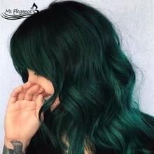 Ms flegance зеленый короткий волнистый синтетический парик с