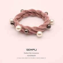 Sempli 10 Colors 100% Nylon Elastic Hair Bands for Womens Girls High Quality Pearl Rubber Alloy Beads Headwear Scrunchie