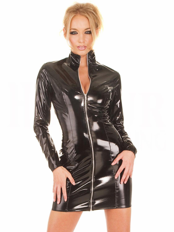 Купить женское черное кожаное платье на молнии из пвх с длинными рукавами